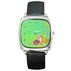 Background Homepage Blossom Bloom Square Metal Watch