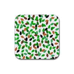 Leaves True Leaves Autumn Green Rubber Square Coaster (4 Pack)  by Celenk