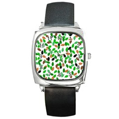 Leaves True Leaves Autumn Green Square Metal Watch by Celenk