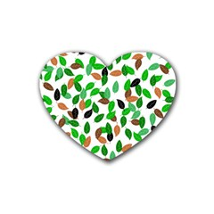 Leaves True Leaves Autumn Green Rubber Coaster (heart)  by Celenk