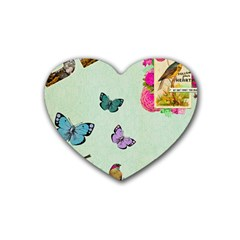 Collage Rubber Coaster (heart)  by 8fugoso