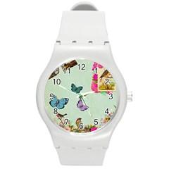 Collage Round Plastic Sport Watch (m) by 8fugoso