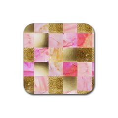 Collage Gold And Pink Rubber Square Coaster (4 Pack)  by 8fugoso