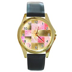 Collage Gold And Pink Round Gold Metal Watch by 8fugoso