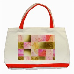 Collage Gold And Pink Classic Tote Bag (red) by 8fugoso