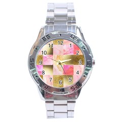 Collage Gold And Pink Stainless Steel Analogue Watch by 8fugoso