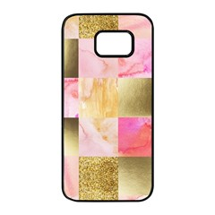 Collage Gold And Pink Samsung Galaxy S7 Edge Black Seamless Case by 8fugoso