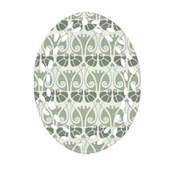 Teal Beige Ornament (oval Filigree) by 8fugoso