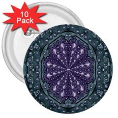 Star And Flower Mandala In Wonderful Colors 3  Buttons (10 Pack)  by pepitasart