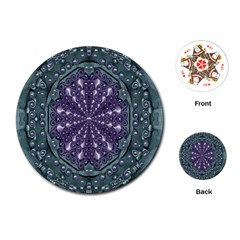 Star And Flower Mandala In Wonderful Colors Playing Cards (round)  by pepitasart