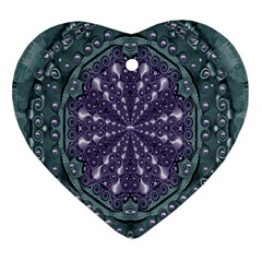 Star And Flower Mandala In Wonderful Colors Heart Ornament (two Sides) by pepitasart