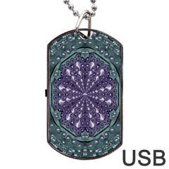 Star And Flower Mandala In Wonderful Colors Dog Tag Usb Flash (two Sides) by pepitasart
