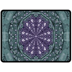 Star And Flower Mandala In Wonderful Colors Double Sided Fleece Blanket (large)  by pepitasart