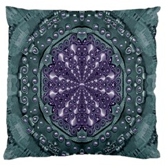 Star And Flower Mandala In Wonderful Colors Large Flano Cushion Case (two Sides) by pepitasart