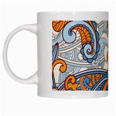 Paisley Pattern White Mugs