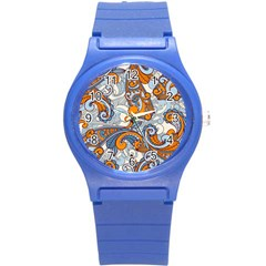 Paisley Pattern Round Plastic Sport Watch (s) by Celenk