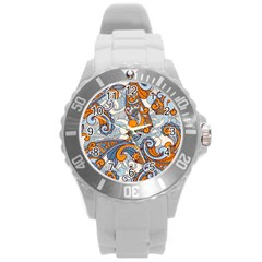 Paisley Pattern Round Plastic Sport Watch (l) by Celenk