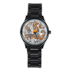 Paisley Pattern Stainless Steel Round Watch by Celenk