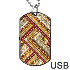 Ethnic Pattern Styles Art Backgrounds Vector Dog Tag Usb Flash (two Sides) by Celenk