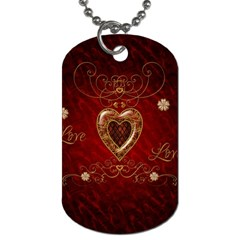 Wonderful Hearts With Floral Elemetns, Gold, Red Dog Tag (one Side) by FantasyWorld7