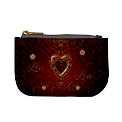 Wonderful Hearts With Floral Elemetns, Gold, Red Mini Coin Purses by FantasyWorld7