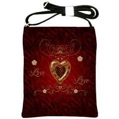 Wonderful Hearts With Floral Elemetns, Gold, Red Shoulder Sling Bags by FantasyWorld7
