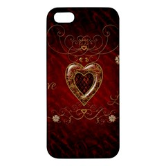 Wonderful Hearts With Floral Elemetns, Gold, Red Apple Iphone 5 Premium Hardshell Case by FantasyWorld7