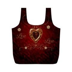 Wonderful Hearts With Floral Elemetns, Gold, Red Full Print Recycle Bags (m)  by FantasyWorld7