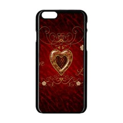 Wonderful Hearts With Floral Elemetns, Gold, Red Apple Iphone 6/6s Black Enamel Case by FantasyWorld7
