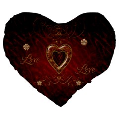 Wonderful Hearts With Floral Elemetns, Gold, Red Large 19  Premium Heart Shape Cushions by FantasyWorld7