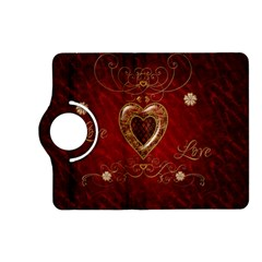Wonderful Hearts With Floral Elemetns, Gold, Red Kindle Fire Hd (2013) Flip 360 Case by FantasyWorld7