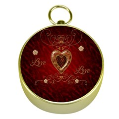 Wonderful Hearts With Floral Elemetns, Gold, Red Gold Compasses by FantasyWorld7