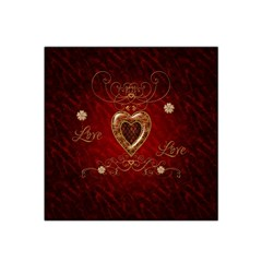 Wonderful Hearts With Floral Elemetns, Gold, Red Satin Bandana Scarf by FantasyWorld7