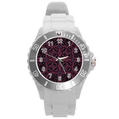 Modern Ornate Pattern Round Plastic Sport Watch (l) by dflcprints