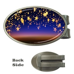 Christmas Background Star Curtain Money Clips (oval)  by Celenk