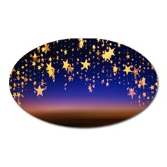 Christmas Background Star Curtain Oval Magnet by Celenk