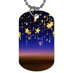 Christmas Background Star Curtain Dog Tag (one Side) by Celenk