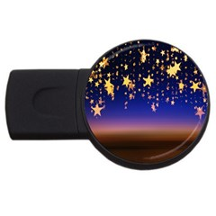 Christmas Background Star Curtain Usb Flash Drive Round (2 Gb) by Celenk