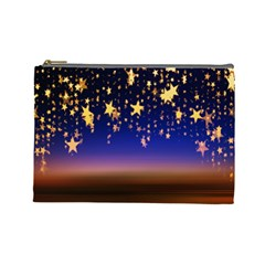 Christmas Background Star Curtain Cosmetic Bag (large)  by Celenk