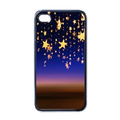 Christmas Background Star Curtain Apple Iphone 4 Case (black) by Celenk