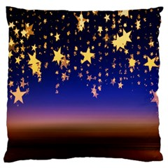 Christmas Background Star Curtain Large Cushion Case (one Side) by Celenk