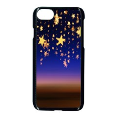 Christmas Background Star Curtain Apple Iphone 7 Seamless Case (black) by Celenk