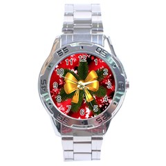 Christmas Star Winter Celebration Stainless Steel Analogue Watch by Celenk
