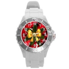 Christmas Star Winter Celebration Round Plastic Sport Watch (l) by Celenk