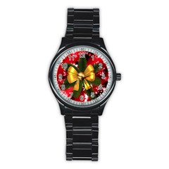 Christmas Star Winter Celebration Stainless Steel Round Watch by Celenk