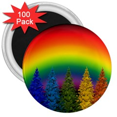Christmas Colorful Rainbow Colors 3  Magnets (100 Pack) by Celenk