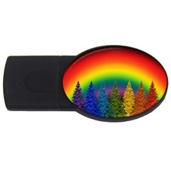 Christmas Colorful Rainbow Colors Usb Flash Drive Oval (2 Gb) by Celenk