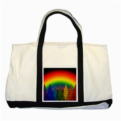 Christmas Colorful Rainbow Colors Two Tone Tote Bag by Celenk