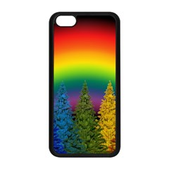 Christmas Colorful Rainbow Colors Apple Iphone 5c Seamless Case (black) by Celenk