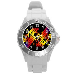 Board Conductors Circuits Round Plastic Sport Watch (l) by Celenk